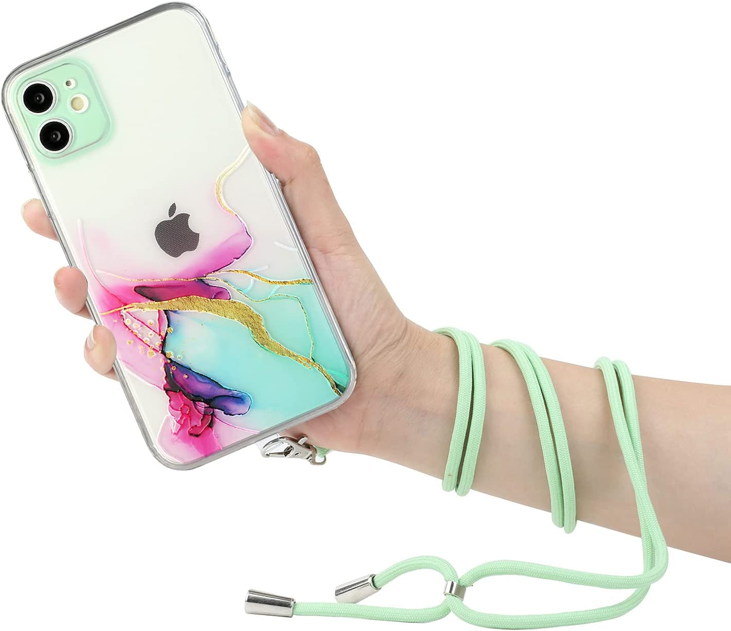 iPhone 12 Pro Lanyard Case, KASOS Marble Design Flexible Clear Cover with Neck Cord Strap Transparent Silicone Adjustable Necklace Rope Crossbody Case (Green)