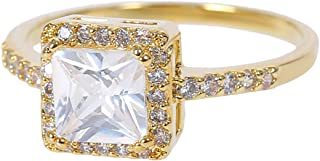MOONSTONE Fashion Engagement Ring for Women Stunning Square Cut Prong Setting Zircon Crystal
