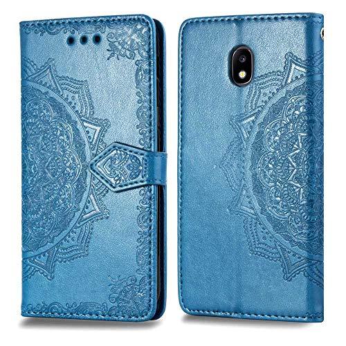THRION Galaxy J7 2018 Cover, Mandala Goffratura Design Case in PU Pelle Portafoglio Cover Premium Custodia per Samsung Galaxy J7 2018, Blu
