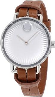 Movado - Reloj de mujer con esfera plateada y correa de cuero marrón 3680035