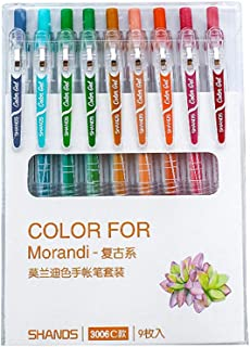 Morandi Colored Gel Ink Pens Retractable 0.5mm Fine Point Assorted Colors for Bullet Journal/To Do List/Making Notes/Art P...