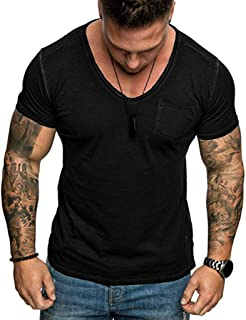 Men's Round Neck Slim Solid Color Short Sleeve T-Shirt with Pocket Top Blouse Fitness Gym Muscle Cool tees