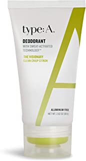 type:A Deodorant - Aluminum Free Deodorant for Women and Men, Natural Active Ingredients, Safe Non-Toxic, Paraben Free, Non-Irritating, Clothing-Friendly, Travel-Friendly (The Visionary-Crisp Citron)