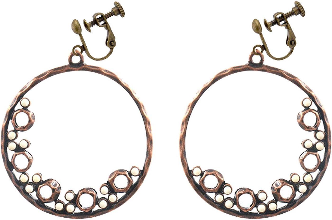Boho Clip on Earrings for Women Girls Big Hoop Dangle Colorful Beaded Drop for Non Pierced Bohemian Vintage Style