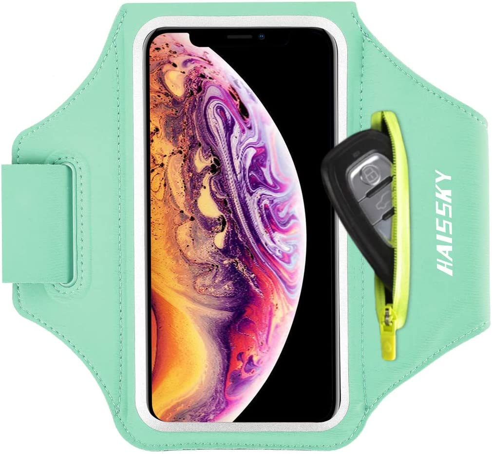 Cell Phone Armband with Zipper Pocket for Car Key Running Armband for iPhone 11 Pro Max/XR 8 Plus/7 Plus, Galaxy S20+/S10/S9, Sweat Resistant Sports Armband Airpods Bag, Up to 6.7 in Phone for Sports