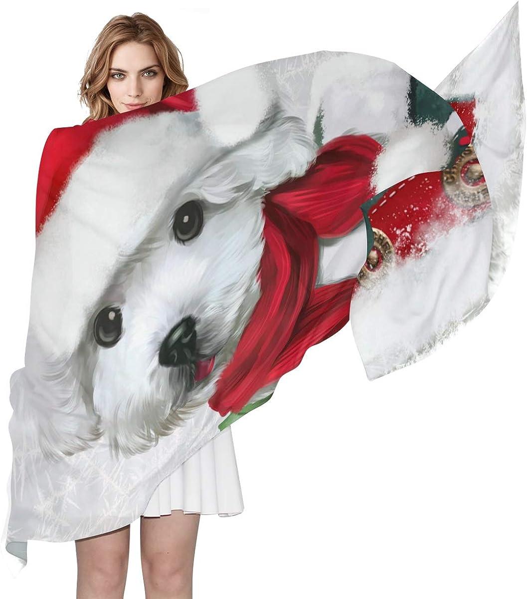 XLING Fashion Scarf Merry Christmas Animal Dog Painting Long Lightweight Sunscreen Scarf Shawl Wrap Muffler Neckerchief for Women Men