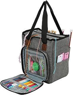 Sac à Tricoter Portable, Grande Capacité Tissé Laine Sac pour Le Domicile Fils Voyage Stockage Tote Outils Crochet (Gris)