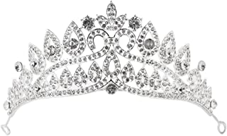 Olici Bridal Wedding Headwear/Prom Hair Pins/Headdress Accessories/Party/Girls Water Drops Flowers Diamond Big Crown Silver Plated Wedding Birthday Bridal Headdress Accessories Accessories