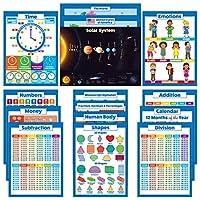 15枚パック – 教育&数学ポスター – ABC – アルファベット、ソーラーシステム、アメリカ&世界地図、数字1-100+、曜日、月、年間、時間、お金(紙はラミネートされていない、18インチ x 24インチ)
