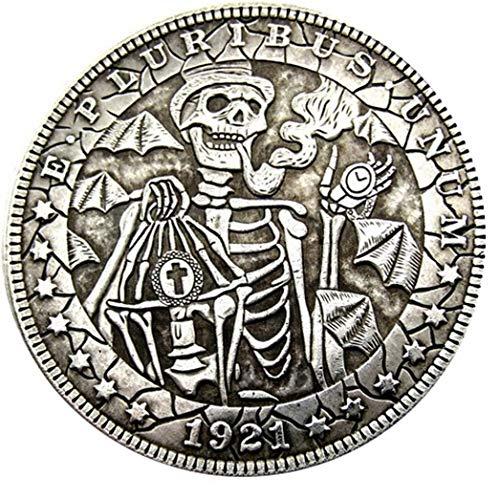 Bespoke Souvenirs Rare Antique Estados Unidos 1921 Año Morgan Dollar Skull Zombie Skeleton Restrike Gran Plata Color Moneda