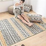 La alfombra Alfombra retro de algodón y lino natural tejida a mano, cálida...