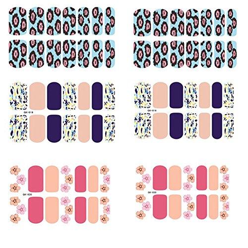 [6 Sheet]Nail Art Sticker Nail Decal Full Nail Wrap Nail Art Tattoo-Pattern A