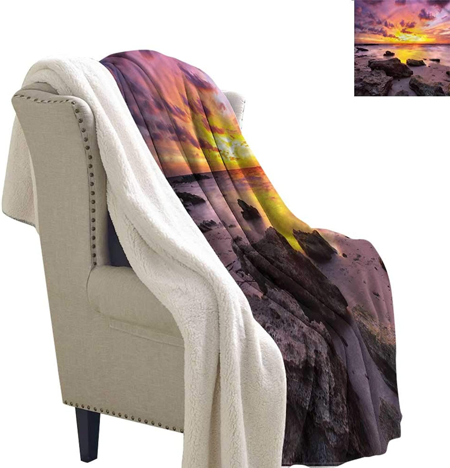 AndyTours Winter Quilt Tropical Sunset Idyllic Beach Autumn and Winter Thick Blanket W59 x L31