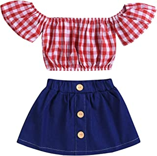 BOIZONTY Kids Baby Girls Outfits Floral Ruffle Off Shoulder Crop Tops + Bowknot Denim Shorts Skirt Set Toddler Summer Clothes - Red - 6-12 Months
