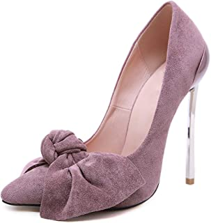 Women's Classic Pointed Toe High Heels Pumps 13Cm Super High Heel Bow Decoration Suede Spring and Autumn Overshoes Daily B...