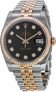 Rolex Datejust Black Diamond Dial Fluted 18k Rose Gold Bezel Jubilee Bracelet Mens Watch 116231BKDJ