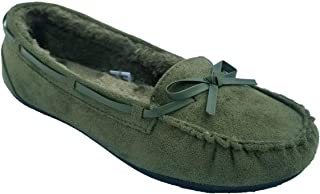 Wells Womens Fashion Faux Suede Fur Lined Slip On Moccasin Flat Shoes