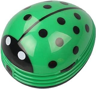 Mini Portable Handheld Cordless Tabletop Crumb Sweeper Desktop Dust Vacuum Cleaner Cute Beetle Ladybug Battery Operated (Green)