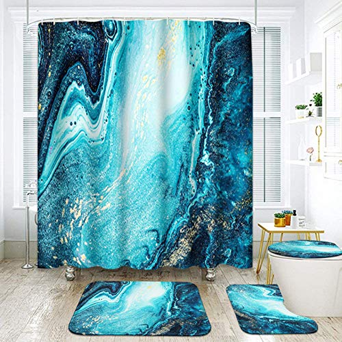 """ArtSocket 4 Pcs Shower Curtain Set Sapphire Turquoise Marble Green Sea Watercolor Golden Abstract with Non-Slip Rugs Toilet Lid Cover and Bath Mat Bathroom Decor Set 72"""" x 72"""""""