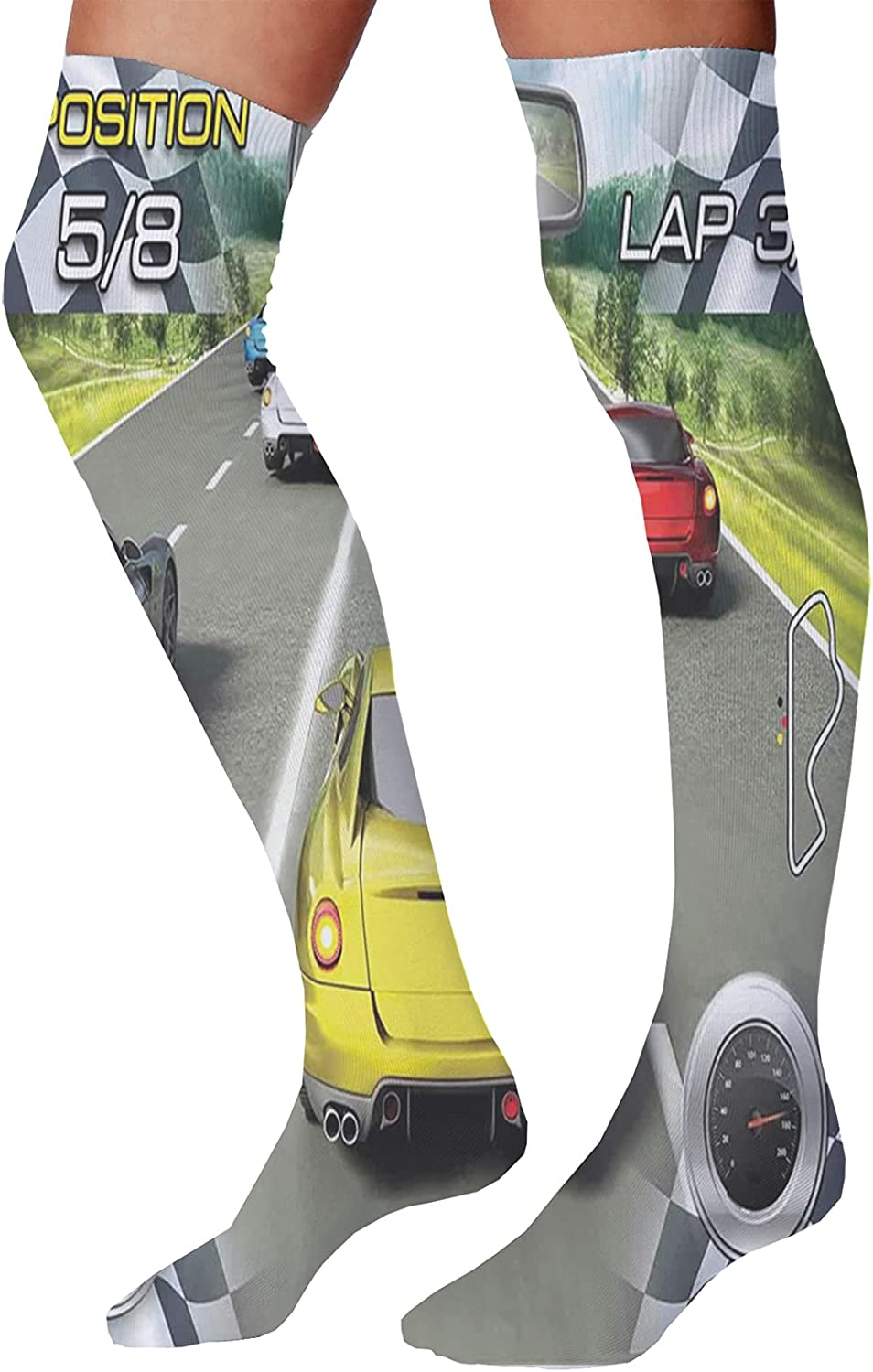 Unisex Dress Cool Colorful Fancy Novelty Funny Casual Combed Cotton Crew Socks,Car Racing Speedy Inspired Illustration Need for Speed Road Competition Motorsports Theme