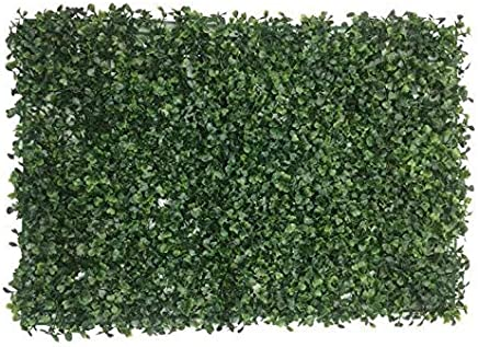 Badshah Craftsvilla Plastic Artificial Plants Wall Boxwood Hedge Grass Mat High Density Greenery Panels Ivy Fence (Standard Size, Green) - Pack of 2