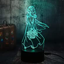 sanzangtang LED Night Light 3D-Vision-Seven Colors-Remote Control-Beautiful Night Light Princess Room Decoration Hermoso patrón niñas Niños Escritorio Luz de sueño