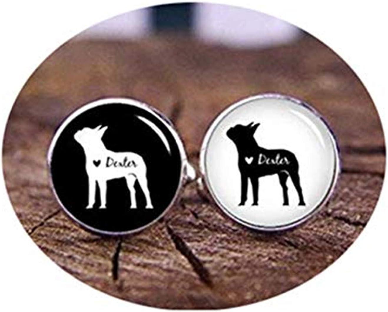 Death Devil Art Picture Cuff Links,Boston Terrier Cufflinks, Custom Dog Cuff Links, Custom Your Dog's Name, Personalized Cufflinks, Custom Animal Profile, Groom Cufflinks, Dog,Gift of Love