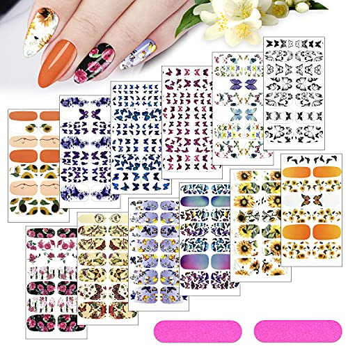 KXAMELIE 12Sheets Nail Stickers Full Nail Wraps Flower Butterfly Pattern Self-Adhesive Nail Art Polish Stickers Strips with Nail Files for Women Girls DIY Nail Decoration,Chic Style
