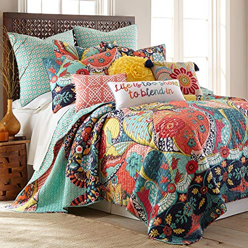 Levtex Home - Jules Quilt Set - King Quilt (106x92in.) + Two King Pillow Shams (36x20in.)- Bohemian - Teal, Orange, Yellow, Green, Blue, Red, Black - Reversible - Cotton Fabric
