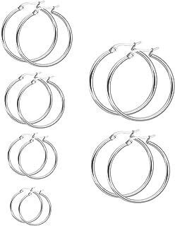 LEEQ 6 Paia Orecchini in Acciaio Inossidabile Cerchio Set Orecchio Cerchio Rotondo Set di Anelli Orecchio, 6 Taglie(-)