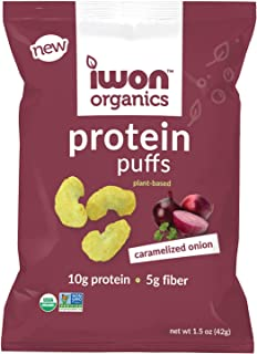 IWON Organics Caramelized Onion Flavor Protein Puff, High Protein and Organic, 8 Bags