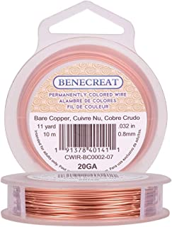 BENECREAT 20 Gauge Bare Copper Wire Solid Copper Wire for Jewelry Craft Making, 33-Feet/11-Yard