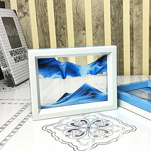 CooCu Moving Sand Art Picture,Desktop Art Toys ,Voted Best Gift!(Ocean Heart) - Black,White,Blue