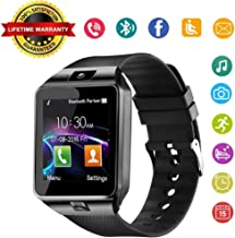 Aeifond Smart Watch DZ09 Bluetooth Smartwatch Touch Screen Wrist Watch Sports Fitness Tracker with Camera SIM SD Card Slot Pedometer Compatible iPhone iOS Samsung LG Android Kids Men Women (Black)