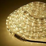 Lights4fun Tube Lumineux 8m à LED Blanc Chaud pour Intérieur/Extérieur