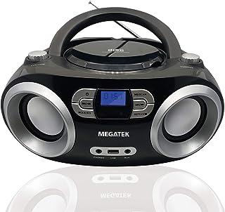 Megatek CB-M25BT Portable CD Player Boombox with FM Stereo Radio, Bluetooth Wireless & Enhanced Sound, CD-R/CD-RW/MP3/WMA ...