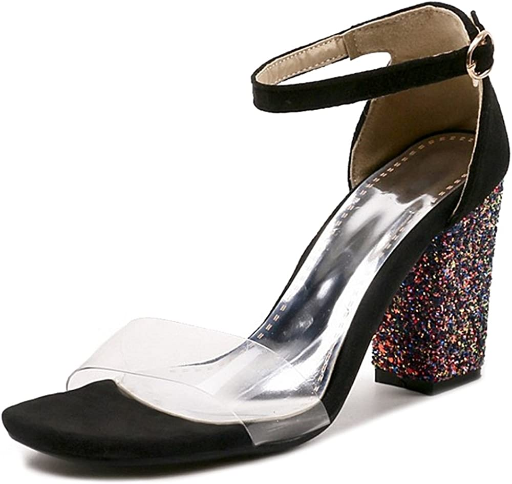 CHICMARK Sandals with Bling Chunky Heel and 6-Colors Party Shoes with Large
