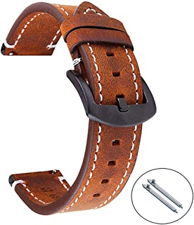 AOKELILY Quick Release Leather Watch Band, 3 Colors Vintage Oil-Tanned Pull-up Germany Crazy Horse Retro Watch Strap Replacement,Choice of Width 18mm 20mm or 22mm