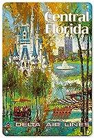 セントラルフロリダデルタ航空ラインティンサイン装飾ヴィンテージ壁金属プラークレトロアイアン絵画カフェバー映画ギフト結婚式誕生日警告