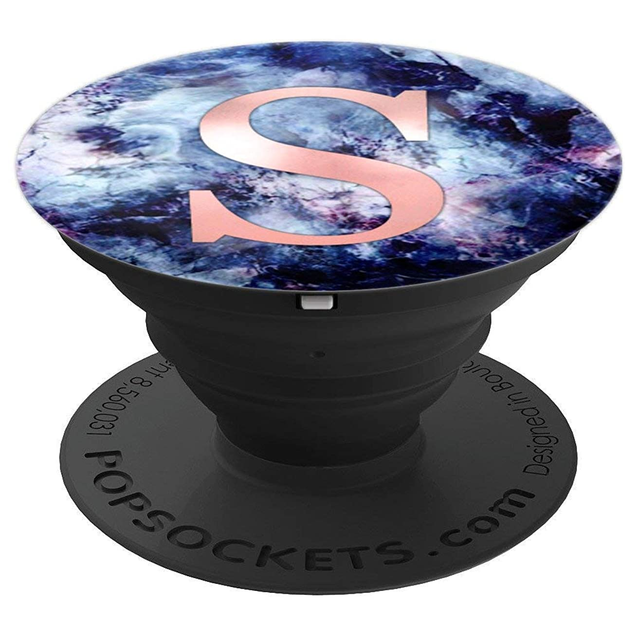 Letter S Pop Socket. Pink Rose Gold Initial On Purple Marble - PopSockets Grip and Stand for Phones and Tablets