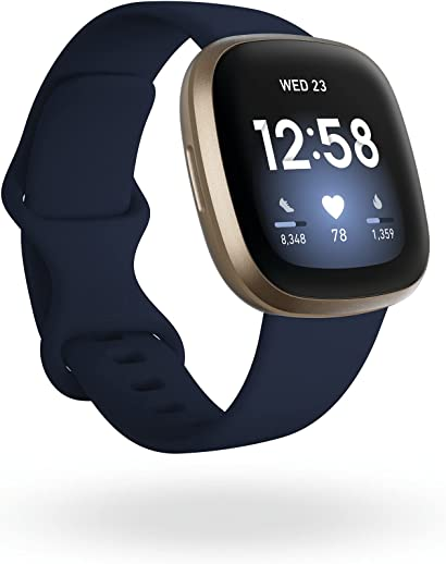 Fitbit Versa 3 Health & Fitness Smartwatch with GPS, 24/7 Heart Rate, Alexa Built-in, 6+ Days Battery, Midnight Blue/Gold, One Size (S & L Bands Included)