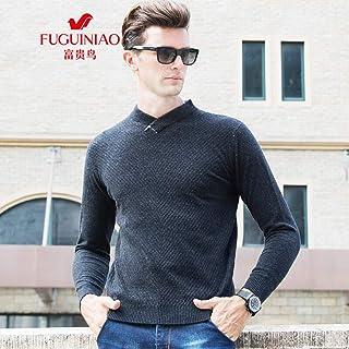富贵鸟羊毛衫男v领中青年秋冬纯色套头休闲针织毛衣男半高领羊毛打底衫
