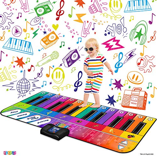 in budget affordable Play22 Colorful 71 ″ Gaming Keyboard Mat – 24 Key Piano Play Mat – Piano Mat with Recording, Playback, etc.