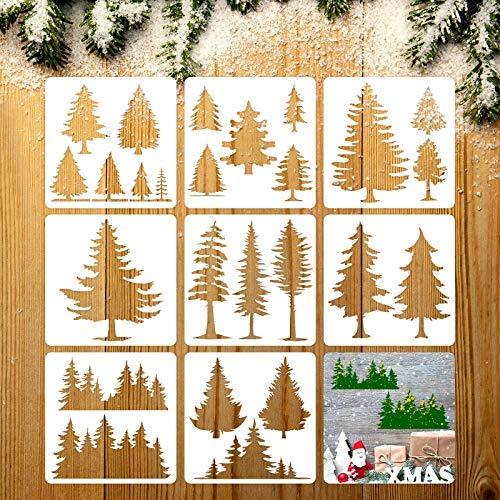 8 Stück Tannenbaum-Schablonen Kunst Malvorlagen Schablonen Weihnachtsbaum Schablonen zum Bemalen auf Holz Weihnachten ...