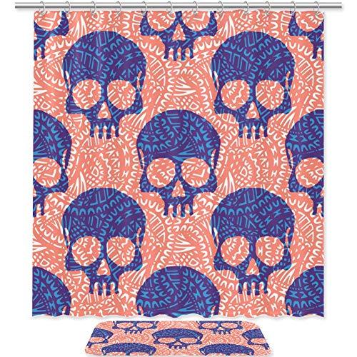 HEOEH - Juego de 2 alfombrillas de baño de microfibra antideslizante con cortina de ducha de tela, diseño de calaveras de Halloween