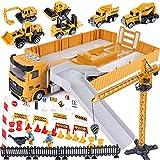 Tacobear Vehiculos Construccion Juguete Niños con Camión Grúa Excavadora Hormigonera Camión Carretilla Elevadora Juguete Vehículos de Construcción Camión Juguete Navidad Cumpleaño Regalo para Niños
