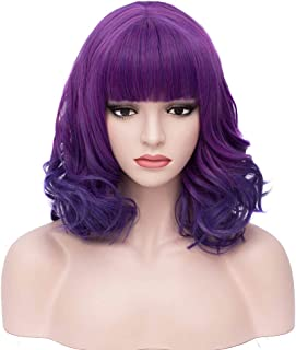 BERON 14'' Short Curly Women Girl's Charming Synthetic Wig with Air Bangs Wig Cap Included (Mixed Purple)