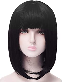 Heat resistant 230 °F 12 inch Black Short Closure Bob Wigs Blunt Cut With Bangs, Realistic Shoulder Full Wigs For Women, Lovely Straight Synthetic Bob Haircut Wigs girls Dating Party Cosplay