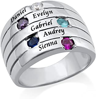 Personalized Five Birthstones Ring for Mothers-Engraved Custom Jewelry Band Ring for Mom