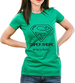 Calledelregalo Regalo para Madres Personalizable: Camiseta 'SuperMadre' Personalizada con el Nombre o Nombres Que tú Quieras
